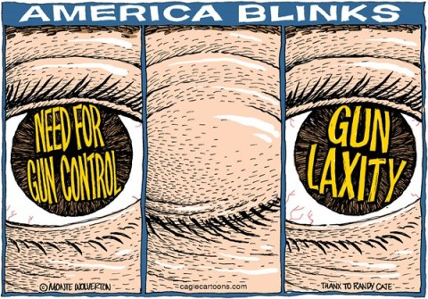 Wolverton - Cagle Cartoons - America Blinks COLOR - English - Gun Legislation, Gun Control, Firearms, NRA, Gun Laws