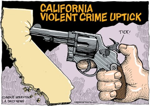 Wolverton - Cagle Cartoons - LOCAL-CA California Crime Uptick COLOR - English - California, Crime, Violence, Crime rate, realignment, prisons, release