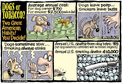 Wolverton - Cagle Cartoons - Dogs vs Tobacco - English - smoking, Tobacco, cigarettes, dogs, nicotine, cancer