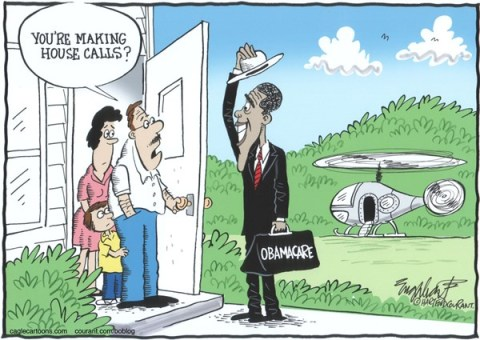 Bob Englehart - The Hartford Courant - Obama Selling Obamacare - English - affordable care act,obamacare,health insurance,mandatory health insurance,