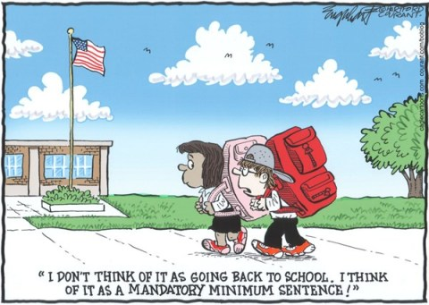 Bob Englehart - The Hartford Courant - Back To SchoolCOLOR - English - Back To School, school days, school daze,end of summer, summer vacation over,fall semester,school,school starts