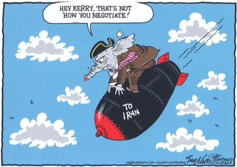 Bob Englehart - The Hartford Courant - Iran Nuclear Deal - English - iran nuclear deal,iran,atom bomb,hydrogen bomb,middle east,mideast,iranian,john kerry,secretary of state kerry,irannuclear power, united nations sanctions iran