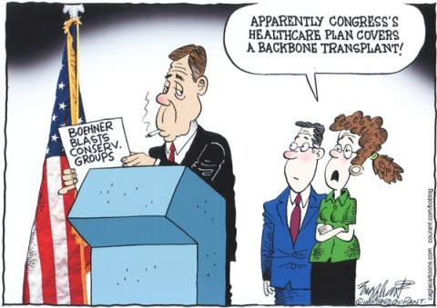 Bob Englehart - The Hartford Courant - Boehner Rips Fundraisers COLOR - English - john boehner,speaker of the house,house of representatives,tea party,conservatives,pac,political action committees,budget,federal budget,mr speaker,shutdown,congress, GOP, republicans