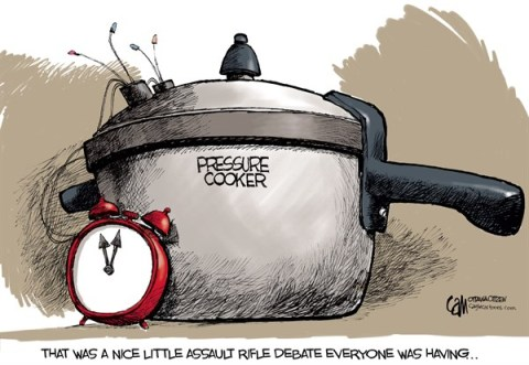 Cardow - The Ottawa Citizen - Pressure Cooker COLOR - English - America, guns, assault, rifle, debate, pressure, cooker, bomb, terrorism