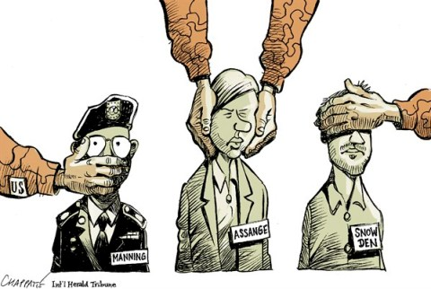 Patrick Chappatte - The International Herald Tribune - Bradley Manning sentenced - English - Manning, Assange, Snowden, USA, US Military, NSA, Computers, Spying, Security, Justice