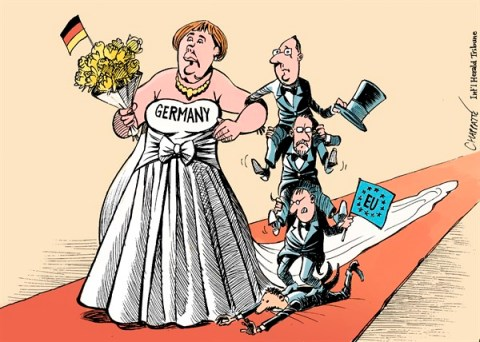 Patrick Chappatte - The International Herald Tribune - Angela MERKEL - English - European Union, Germany, Merkel, Elections, France, Holland, Spain, Rajoy, Power, Wedding