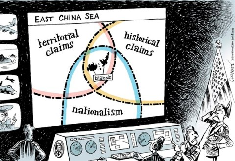 Patrick Chappatte - The International Herald Tribune - East China Sea Tensions - English - Asia, Japan, China, South Korea, USA, US Military, Nationalism, Sea, Border, History, Plane