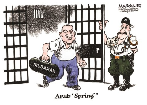 Jimmy Margulies - The Record of Hackensack, NJ - Mubarak Freed color - English - Egypt, Mubarak, Arab Spring, Egypt military