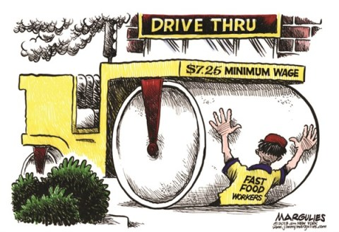 Jimmy Margulies - The Record of Hackensack, NJ - Fast Food minimum wage color - English - minimum wage, fast food workers, poverty, economy, fast food industry
