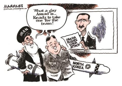 Jimmy Margulies - The Record of Hackensack, NJ - Syria, Iran and North Korea color - English - Syria, Syria chemical weapons, Iran, Iran nukes, North Korea, North Korea nukes, Syria attack, Assad, Bashir al Assad, Syria civil war, Syrian rebels