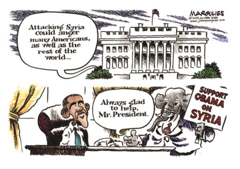 Jimmy Margulies - The Record of Hackensack, NJ - Republican support for Obama on Syria color - English - Syria, Obama Syria policy, Syria attack, Syria chemical weapons, Republican support for Obama on Syria