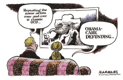 Jimmy Margulies - The Record of Hackensack, NJ - Obamacare Defunding - English - Obamacare, Obamacare defunding, Republicans, Tea Party, Congress, Senator Ted Cruz