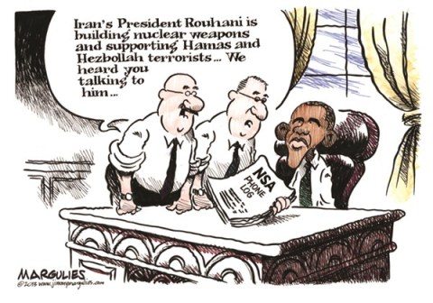 Jimmy Margulies - The Record of Hackensack, NJ - Obama and Rouhani phone call color - English - Obama and Rouhani phone call, US- Iran relations, Iran, President Rouhai, President Obama, Foreign policy, NSA domestic spying