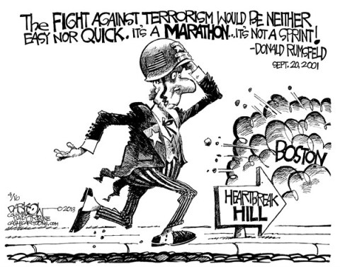 John Darkow - Columbia Daily Tribune, Missouri - Marathon Mayhem - English - Marathon, Run, Heartbreak, Boston, Hill, Sprint, Disaster, Fight, Terror, Terrorism, Bomb, Street, Finish, Race, Explosion