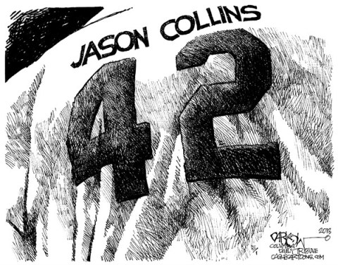 John Darkow - Columbia Daily Tribune, Missouri - Jason Collins Breaking Barriers - English - Basketball, NBA, 42, Jason, Gay, Coming Out, Homosexual, Men, Pro, Court, Team, Washington, Wizard, Announcement, Support, Active, Ball, Sports, Sports Illustrated