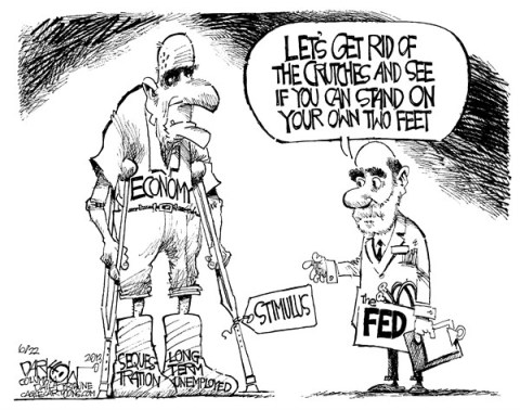 John Darkow - Columbia Daily Tribune, Missouri - Standing On It's Own Two Feet - English - Sequestration, Medical, Federal, Crutches, Stimulus, Casts, Doctor, Economy, Feet, Stand, People, Government, Politics, Unemployment, Term