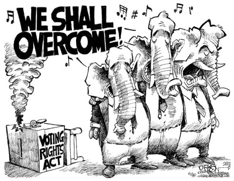 John Darkow - Columbia Daily Tribune, Missouri - Voting Rights Act - English - Act, Voting, Rights, Republican, Democrat, GOP, Overcome, Sing, Government, Politics, Lock, Box