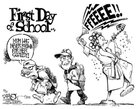 John Darkow - Columbia Daily Tribune, Missouri - First Day of School - English - School,First,Day,freedom,parents,mom,kids,schoolkid,fall,2013 school year,Bell,Ring,Children,learning,reading,writing,math,school 2013