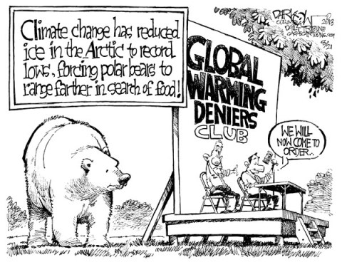 John Darkow - Columbia Daily Tribune, Missouri - Climate Change - English - Global, warming, deniers, club, Arctic, record lows, polar bears, food, hot, cold, ice, glacier, volcanic ash, scientists