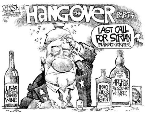 John Darkow - Columbia Daily Tribune, Missouri - Hangover from wars - English - Hangover, War, Iraq, Afghanistan, Libya, Wine, Lead, Gin, Shock, Syria, Call, Cocktails, Part, Government, Politics, Beer, Drone
