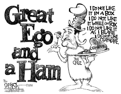 John Darkow - Columbia Daily Tribune, Missouri - Ted I Am - English - Ted, Am, Sam, Green, Great, Eggs, Ham, Ego, Cruz, Obama, Care, Health, Reform, Box, Fox, Blare, Like