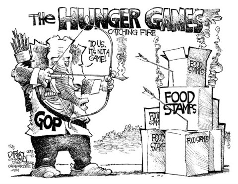 John Darkow - Columbia Daily Tribune, Missouri - Food Stamp Games - English - GOP, Food Stamps, feed, poor, Hunger, catching fire, game, poverty, hunger, Great Recession, food bank, need, job, training, entitlement