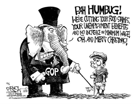 John Darkow - Columbia Daily Tribune, Missouri - GOP gets its scrooge on - English - GOP, food stamps, cuts, unemployment, benefits, minimum wage, no increase, bah humbug, Merry Christmas, Scrooge