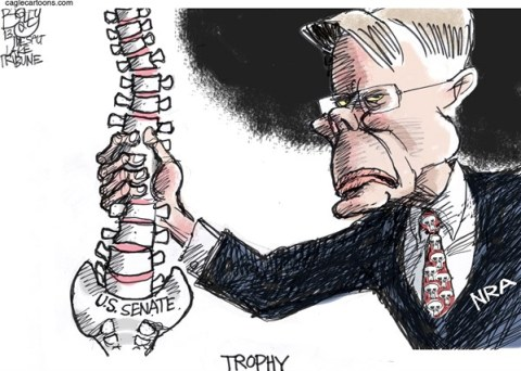 Pat Bagley - Salt Lake Tribune - Spineless - English - Wayne LaPierre, NRA, Guns, Senate, Red State, Background Check, LaPierre