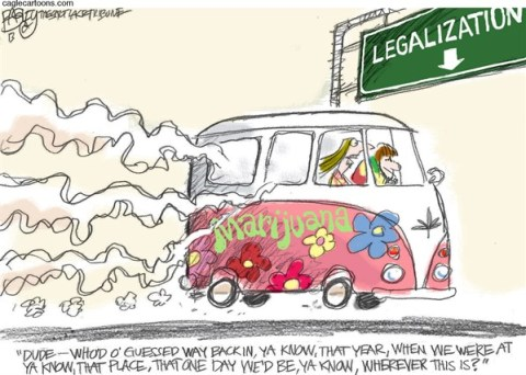 Pat Bagley - Salt Lake Tribune - Long Strange Trip COLOR - English - Doobie,Marijuana,Joint,Reefer,Pothead,Stoner,Ganja,Mary Jane,Pot,Legalization,Medical Marijuana,Hemp,Hempfest,THC,States,Colorado,Washington