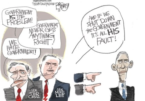 Pat Bagley - Salt Lake Tribune - Government Shutdown Fail COLOR - English - Government,Shutdown,Ted Cruz,Mike Lee,Obama,Defund,Obamacare