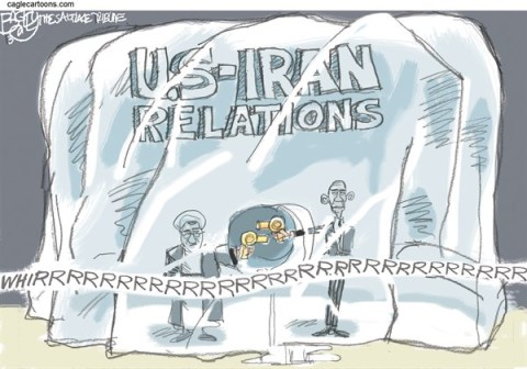 Pat Bagley - Salt Lake Tribune - Iranian Thaw COLOR - English - Iran,Obama,Rouhani,US Diplomacy,UN Ice,Diplomatic Thaw