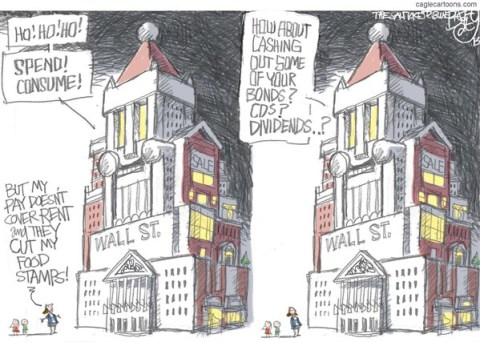 Pat Bagley - Salt Lake Tribune - Wall Street Santa - English - Santa, Business, Wall St, Capitalism, Black Friday, Cyber Monday, Spending, Consumers, Food Stamps, WalMart, Waltons, One Percent