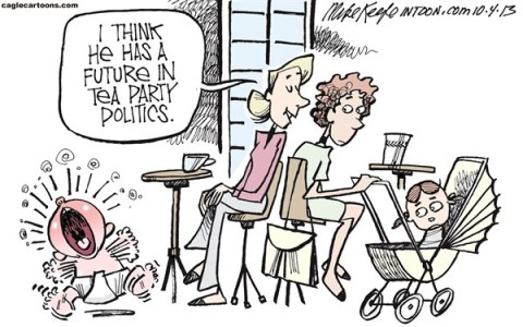 Mike Keefe - Cagle Cartoons - Tea Party Politics COLOR - English - tea; party; politics; boehner; shutdown; government; obama; republican; house; obamacare, budget, continuing, resolution