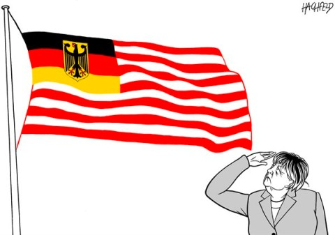 Rainer Hachfeld - Neues Deutschland, Germany - sovereign Germany - English - German flag and stripes, Angela Merkel