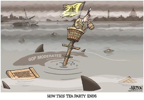 RJ Matson -  - Tea Party Shutdown-COLOR - English - Tea Party Shutdown, Government Shutdown, Speaker of the House, House of Representatives, John Boehner, Republicans, GOP, Moderates, Tea Party