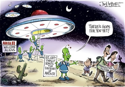 Joe Heller - Green Bay Press-Gazette - Area 51 - English - area 51, ufo, aliens, immigration reform, illegals