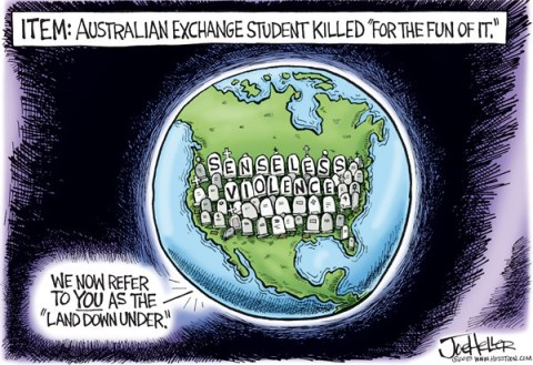 Joe Heller - Green Bay Press-Gazette - Oklahoma Shooting - English - Christopher Lane, Oklahoma teenagers, Australian, Duncan, senseless violence, land down under