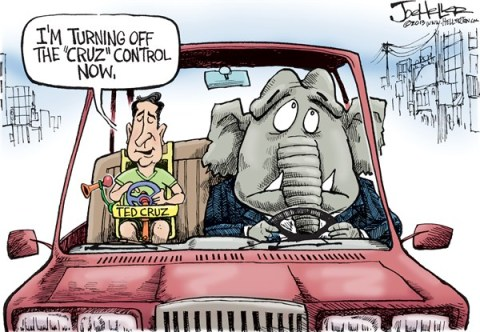 Joe Heller - Green Bay Press-Gazette - Ted Cruz - English - Ted cruz, cruise control, tea party, government shutdown, obamacare, affordable healthcare act, gop, filabuster