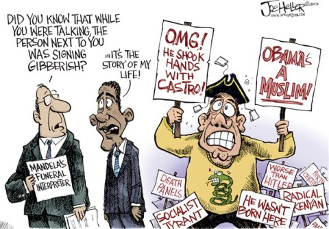 Joe Heller - Green Bay Press-Gazette - Interpreter - English - Interpreter, south africa, mandela, funeral, sign langauge, tea party, birthers, obama