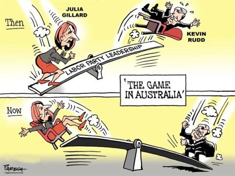 Paresh Nath - The Khaleej Times, UAE - Game in Australia COLOR - English - Australia, Aussie Prime Pinister, Julia Gillard, Kevin Rudd, Labor Party leadership, seesaw game, Then and Now