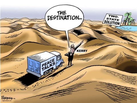 Paresh Nath - The Khaleej Times, UAE - Resuming peace talks COLOR - English - Peace talks, Middle East conflict,Israelis, Palestinians,two state solution, oasis, desert, John Kerry, US mediation
