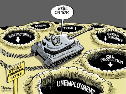 Paresh Nath - The Khaleej Times, UAE - Syria's war economy COLOR - English - Syria, civil war, Assad regime, potholes, syrian currency, low manufacturing, low trade, unemployment, oil production low, financial battle, syrian economy