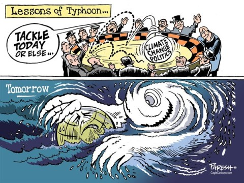 Paresh Nath - The Khaleej Times, UAE - Lessons of Typhoon COLOR - English - Typhoon, Haiyan, Philippines, Katrina, hurricane, climate change politics, global warming, natural disasters, rising sea level, threat to world, apocalypse, climate talks