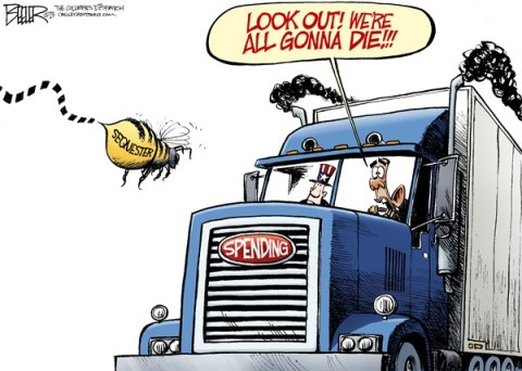 Nate Beeler - The Columbus Dispatch - The Sequester COLOR - English - barack obama, spending, sequester, sequestration, bee, truck, semi, president, politics, congress, cuts, debt, taxes, government