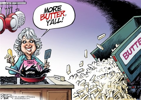 Nate Beeler - The Columbus Dispatch - Paula Deen COLOR - English - paula deen, cook, chef, celebrity, butter, racist, racism, food, network, crow, entertainment