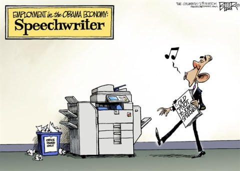 Nate Beeler - The Columbus Dispatch - Jobs Speech COLOR - English - barack obama, pivot, jobs, employment, economy, copier, speech, speechwriter, politics, president, government