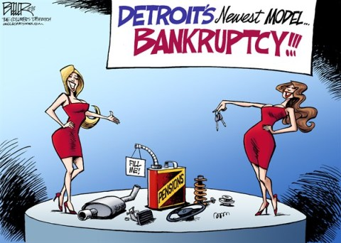 Nate Beeler - The Columbus Dispatch - New Detroit Model COLOR - English - detroit, model, car, pension, union, bankruptcy, auto, industry, unions, economy, city, michigan, car