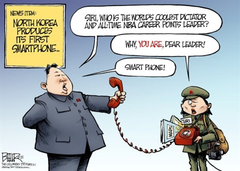 Nate Beeler - The Columbus Dispatch - North Korea Smartphone COLOR - English - north korea,kim jong un,dictator,smartphone,smart,phone,technology,siri,iphone,nba,world