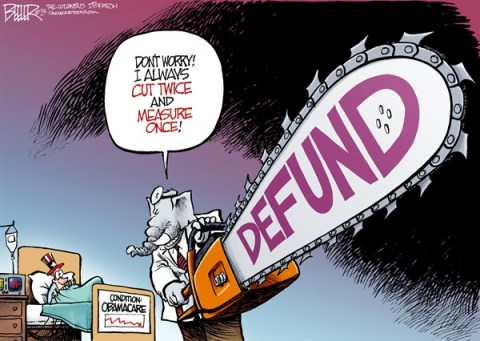 Nate Beeler - The Columbus Dispatch - Defund Obamacare COLOR - English - obamacare, republican, gop, chainsaw, defund, congress, politics, barack obama, health care, reform, cut, budget, funding