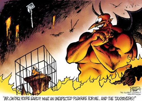 Nate Beeler - The Columbus Dispatch - Ariel Castro Dead COLOR - English - ariel castro, cleveland, ohio, dead, hell, devil, satan, suicide, prison, hostage, kidnap, captive, taxpayer, taxes, crime